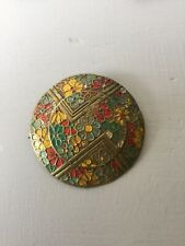 Metal Hand-Painted Brooch Vintage Art Deco Domed