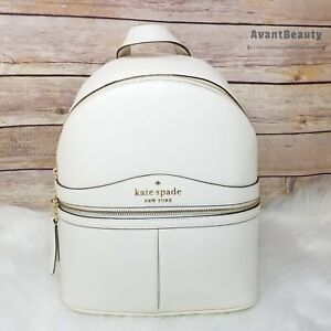 New Kate Spade Karina Medium Backpack Pebble Leather Parchment White Leather NWT