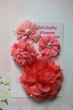 HANDMADE 4 Flower Mix - CORAL Silk Organza Lace Satin 50 - 95mm NjoyfullCrafts