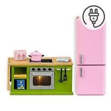 Lundby Dolls House Green Kitchen Furniture 1:18 Cooker Oven Pink Fridge Set