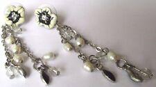 Boucle d'oreille clou couleur argent pampilles perles baroques et cristaux 476