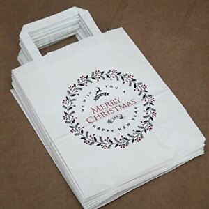 White Merry Christmas Party Bags | Festive Handled Paper Gift Bags x10