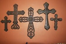(5), Unique Christian Wall Cross Decor, Solid Cast Iron, Country Western, Rustic