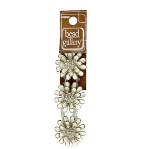 White Enamel & Gold Metal Flower Sliders, 30mm from Bead Gallery