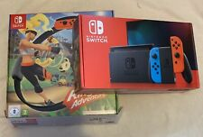 Nintendo Switch Console Neon Improved Battery & Ring Fit Adventure Pack Set