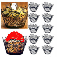 12PC Halloween Spider Cupcake Wrappers Paper Cake Topper Favor Party Decor Black
