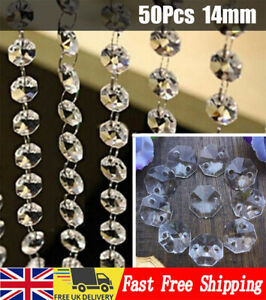 50*Chandelier Light Crystals Droplets Glass Beads Drops 14mm Wedding Lamp Decors