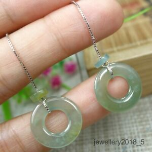 Certified Icy Yellow 100% Natural A  jadeite Jade Donut Earring 甜甜圈耳坠