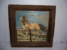 "VINTAGE HORSE PRINT WITH BARBED WIRE FENCE WESTERN FOLK ART 19 1/2"" X 20 1/4"""