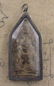 A Sospensione Amuleto Tailandese Budda Seliger Phra Khun Paen Plaiku Custodia IN
