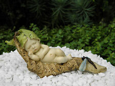 Miniature Figurine FAIRY GARDEN ~ Sleeping Leaf Fairy Baby with Dragonfly ~ NEW