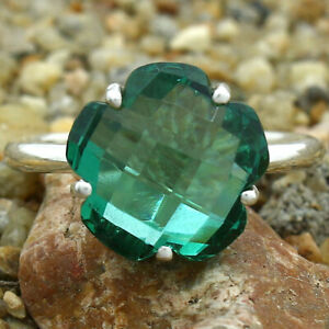 Green Tourmaline Simulated 925 Sterling Silver Ring s.8.5 Jewelry E123