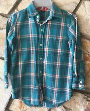 Gap Kids Boys Shirt Size 6-7  Flannel Teal Plaid Long Sleeved 100% Cotton