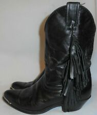 Black Leather Fringe Cowboy Boots Womens Size 7 M