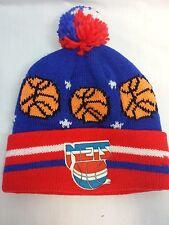 Vintage Logo 7 NBA New Jersey Nets Knit Beanie Cap Hat W/ Pom Pom One Size Youth
