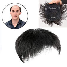 Men's Black Synthetic Hair Topper Toupee Clip Hairpiece Top Wigs Short Male Wig