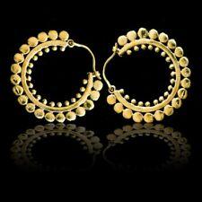 Tribal Earrings Lotus Hoops Brass Ethnic Statement Boho Festival Gypsy india N21