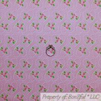 BonEful FABRIC FQ Cotton Quilt Pink White Heart Love Valentine Rose Flower Small