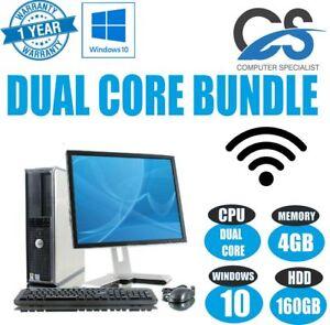 WINDOWS 10 FULL DELL COMPUTER DESKTOP TOWER SET PC 4GB RAM 160GB HD WIFI BARGAIN
