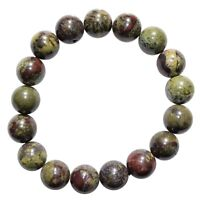 CHARGED Dragon's Blood Jasper 12mm Bead Bracelet Tumble Polished Stretchy REIKI