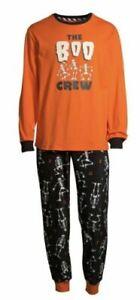 The BOO CREW Boy/Girl 10-12 Family Halloween PJs~Orange Black White Skeleton~F2