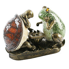 ART DECO BRONZE FROG & TORTOISE LAMP. TIFFANY CRACKLE GLASS TABLE SIDE LIGHT.NEW
