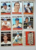 Lot of 9 1964 Topps Chicago CUBS vintage baseball cards RARE Ken HUBBS Memorial