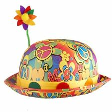 Adults Multi-coloured Bright Floral Flower Fancy Dress Clown Bowler Hat