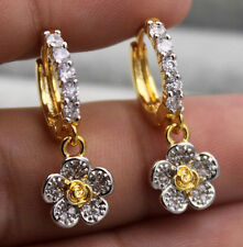 18K Yellow Gold Filled - Rose Flower Topaz Zircon Drop Party Gemstone Earrings