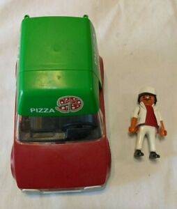 Playmobil Pizza Delivery Car Vehicle and Delivery Man Figure