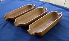 Vintage Monkey Pod Wood Corn on the Cob Dishes Cradles Set 3