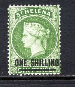 St. Helena QV 1864-80 (Wmk CC, p14) 1s. Yellow Green (Type B) SG30 M/Mint