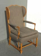 Vintage French Country Oak Accent Wing back Accent Arm Chair Mid Century Modern