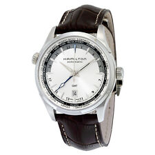 Hamilton Jazzmaster GMT Silver Dial Brown Leather Mens Watch H32605551