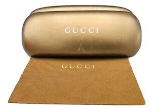 Gucci Authentic Sunglass Eyeglass Case Oblong Hard Brown Bronze w/ Lens Cloth