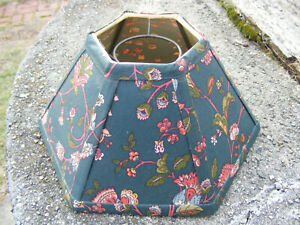 Vintage 6 Sided FABRIC LAMP SHADE LINED Ring Type
