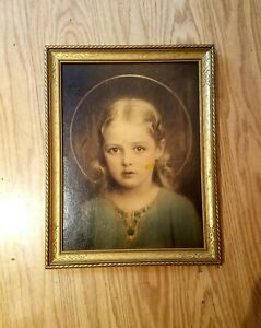 """By C Bosseron Chambers MARY MOST HOLY Print Framed Ornate Gold 13 1/2"""" x 10 1/2"""""""