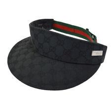 8423de457b0 Authentic GUCCI Vintage Shelly Line Sun Visor Hat Black  S Italy AK31804