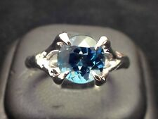 925 Sterling Silver Blue Topaz Ring Hammered Women Jewellery Valentine's gift