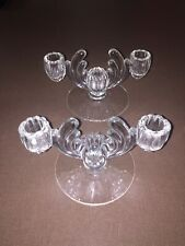 heisey crystolite 3 Light Candle  Holder Pair