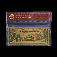 WR 1875 $5 US National Note Vineland Fine Gold Banknote In Mylar Sleeve