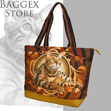 Furbabies Bengal cat Original portrait drawing printed Canvas Large Tote Bag