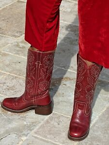 Frye Women's size 5 N Vintage Leather Boot red Burgundy EUC cowboy boots