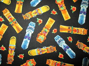 TIKI GODS CARRIBEAN FLOWERS COLORED COTTON FABRIC FQ OOP