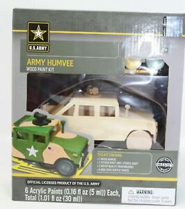 US ARMY HUMVEE MasterPieces Real Wood Paint Kit - U.S. Army Vehicles #21732 NEW