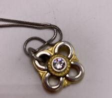 $44 Brighton Two-Tone Metal Sava Flower Pendant Necklace w/Diamond (4) B 20