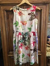 Womens DERHY DRESS FLORAL/BUTTERFLY PEARL NECK FULLY LINED CREAM/PINKS/PUR L