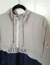 GUESS Mens Long Sleeve Half Zip Spellout Hoodie Windbreaker Jacket L Tan Navy