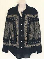 Soft Surroundings Blouse Medium Black Beige Paisley Top Shirt Long Sleeve Cotton