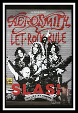 "Framed Vintage Style Rock 'n' Roll Poster ""AEROSMITH - LET ROCK RULE"";12x18"